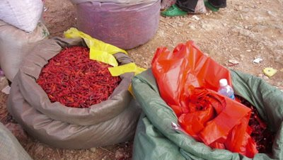 Dried Chili Pepper Vendor in Market, Dali, Yunnan, China