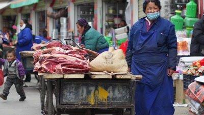 Meat Vendor in the Market, Lhasa, Tibet