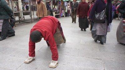 People Walking in the Street, Lhasa, Tibet