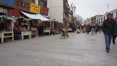 People Worshiping on Bended Knees, Lhasa, Tibet