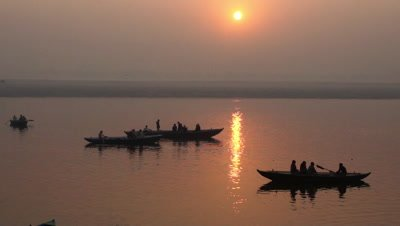 Ganges River at Sunset, Varanasi, India