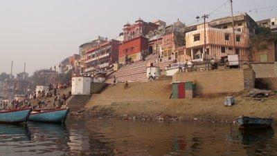 People Washing in Ganges River, Varanasi, India