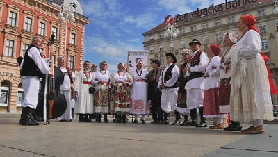 People Wearing Traditional Clothing Singing, Zagreb, Croatia