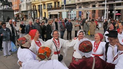 People Wearing Traditional Clothing Dancing, Zagreb, Croatia