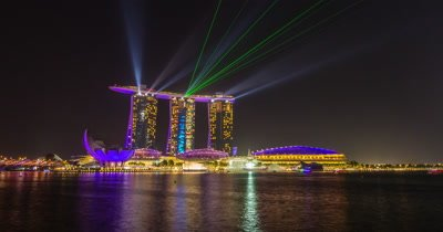 Time Lapse of Marina Bay Sands Light Show and Night View in Singapore