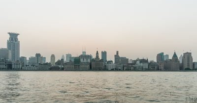 Time Lapse of Shanghai Bund from Day to Night, China