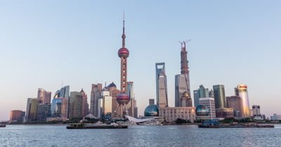 Time Lapse of Shanghai Pudong New Area from Day to Night, China