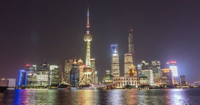 Time Lapse of Shanghai Pudong New Area at Night, China