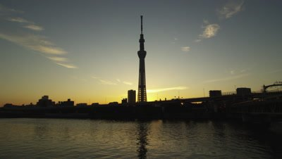 Tokyo Sky Tree Tower and Sumida River in Tokyo, Japan