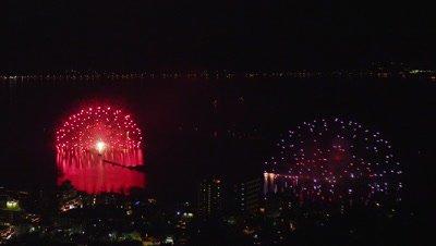 Fireworks at Lake Suwa in Nagano Prefecture, Japan
