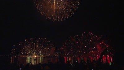 Summer Night Fire Festival finale at Lake Suwa in Nagano Prefecture, Japan