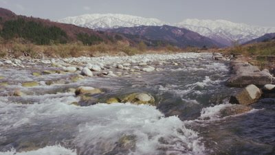 Snow capped mountains and water flowing through creek
