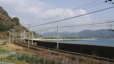 Train moving in Yamaguchi Prefecture, Japan