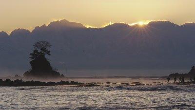 Sunrise over Tateyama Mountain Range in Takaoka City, Toyama Prefecture, Japan