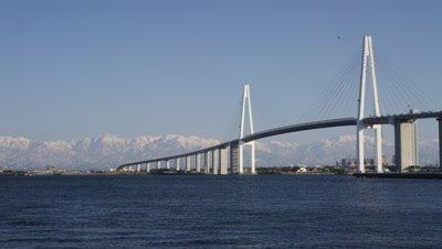 Shinminato Oohashi Bridge and Kaiomaru in Toyama Prefecture, Japan