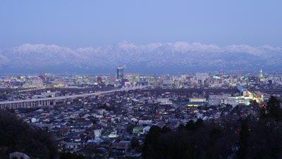 Snow capped Tateyama Mountain Range in Toyama Prefecture, Japan