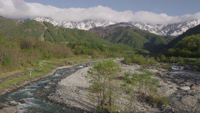 Hakuba mountains and Matsukawa River in Nagano, Japan