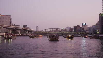 Tour boats waiting for Sumida River Fireworks Festival