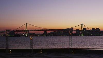View of Rainbow Bridge from Harumi Wharf