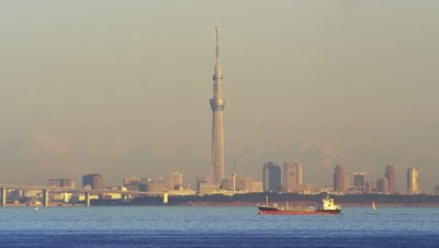 View of Tokyo Sky Tree from Tokyo Bay Aqua-Line Umihotaru
