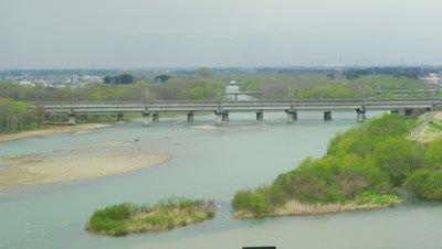 Tohoku Shinkansen crossing and Kitakami River