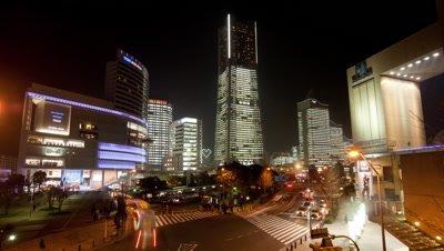 Yokohama Minato Mirai 21 at night in Japan