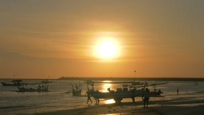 Fishing Boat Launching at Jimbaran Beach, Bali, Indonesia