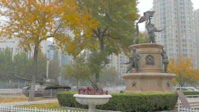 Statue near Jiefang Bridge in Tianjin, China
