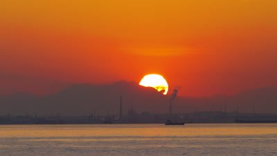 Time Lapse of Sunset over the Sea, Yokohama, Kanagawa, Japan