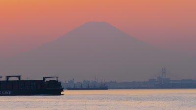 Mount Fuji at Sunset, Yokohama, Kanagawa, Japan