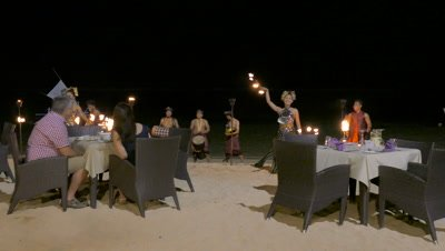 Candlelight Dinner at Nusa Dua Beach Seeing Fire Dance, Bali, Indonesia