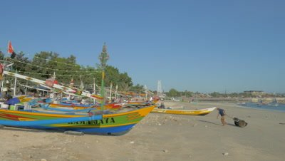 Fishing Boat Launching at Jimbaran Beach, Bali, Indonesia