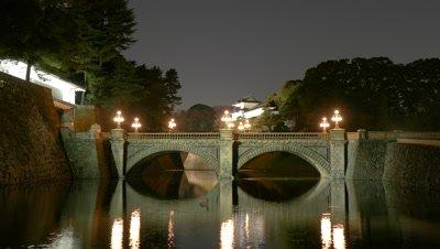 Imperial Palace Double Bridge, Tokyo, Japan, Time-lapse