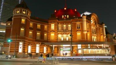 Tokyo Station at night in Japan