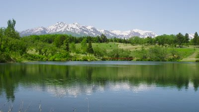 Matsugamine Pond and Myoko Mountain Range, Joetsu City, Niigata Prefecture, Japan