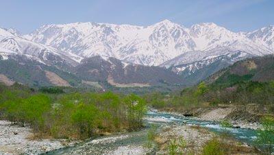 Matsukawa River and Hakuba Mountain Range, Hakuba Village, Kitaazumi District, Nagano Prefecture, Japan