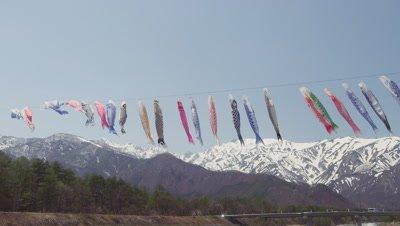 Koinobori and Hakuba Mountain Range, Hakuba Village, Kitaazumi District, Nagano Prefecture, Japan