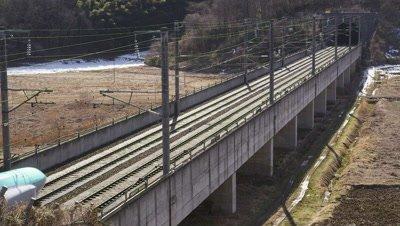 Tohoku bullet train crossing in Miyagi, Japan