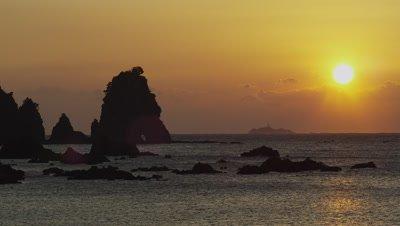 Sunrise and Minokake Rock in Shizuoka, Japan