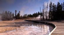 Steam Rises Near Boardwalk Around Porcelain Basin Yellowstone National Park