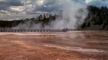 Grand Prismatic Spring Yellowstone National Park. Boardwalk Around Pool