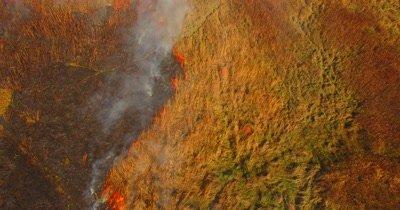 Tallgrass prairie fire from the air in 4k