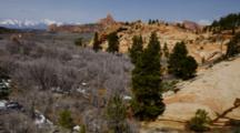Landscape Of Snow Melting In Red Rock Country, Utah
