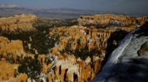 Bryce Canyon Eroded Formations, Snow On Canyon Rim. Utah.