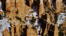 Detail Of Snow On The Steep Red Rock Canyon Spires. Bryce Canyon National Park.