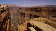 Overlook Panorama From Grand Canyon Rim, Showing The Colorado River One Mile Below. Arizona.