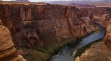 Overlook Panorama Of Horseshoe Bend, Arizona, Mesa And Colorado River. Shot Pans Left To Right.