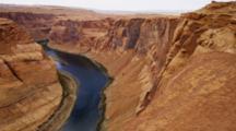 Right Side Of Horseshoe Bend, Arizona, Mesa And Colorado River.