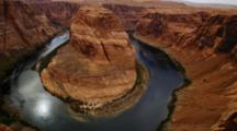 Horseshoe Bend, Arizona, Mesa And Colorado River. Pan And Zoom Out From Right To Left. Sun Reflected In The River.