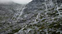 Water Falls Off Rocky Steep Cliff, Foreground Vegetation Blows In The Wind